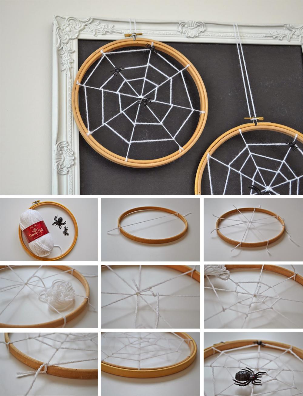 diy para decorar en halloween con tela de araña espeluznante en bastidor fácil y económico