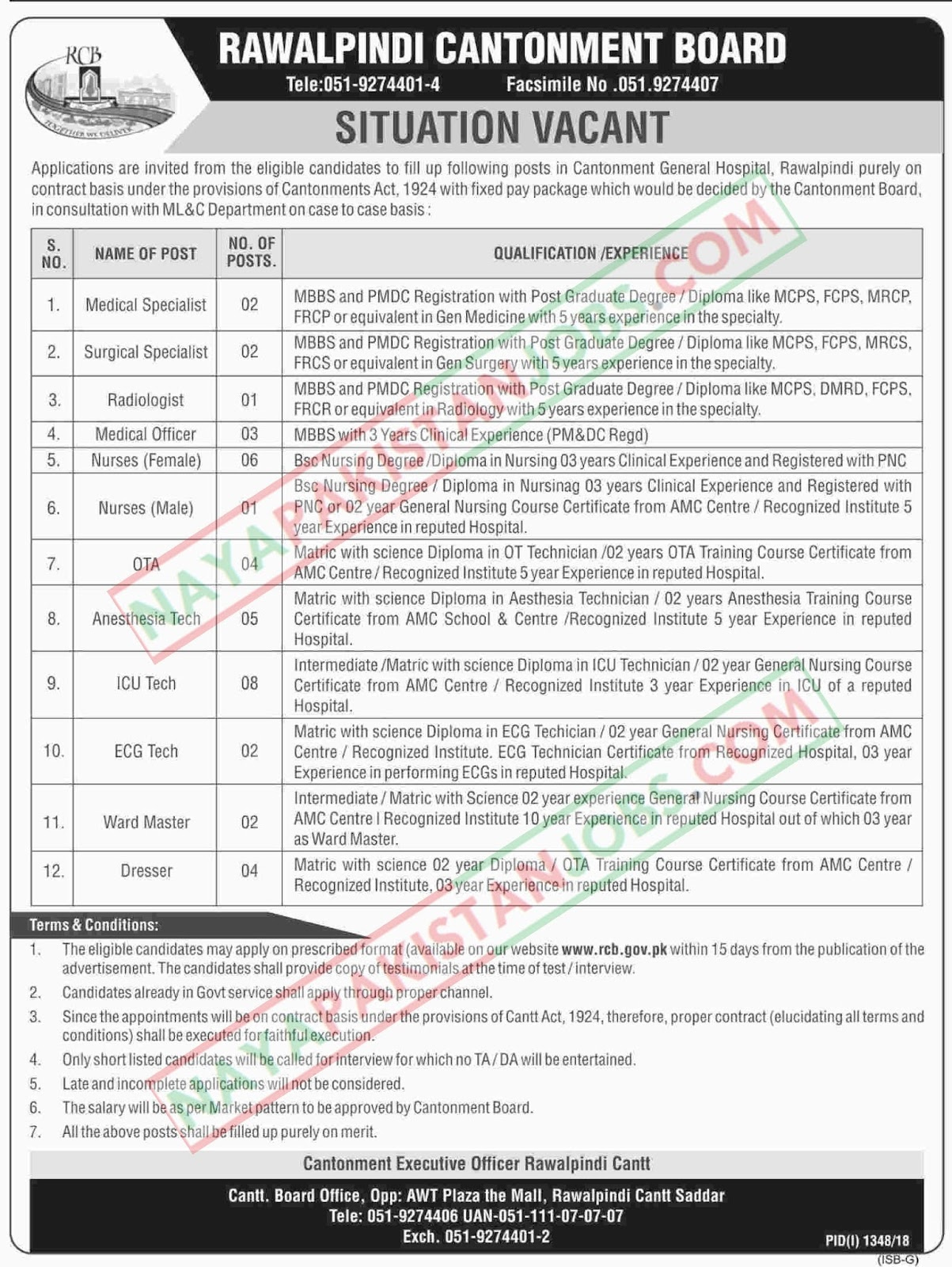 Latest Vacancies Announced in rcb.gov.pk Cantonment Board Rawalpindi 27 September 2018 - Naya Pak Jobs