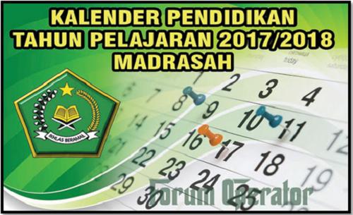 Kalender Pendidikan Sekolah Madrasah Tahun 2017/2018 Terbaru