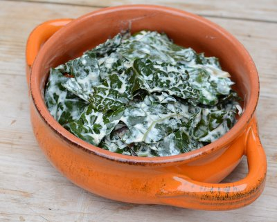 Greens with Sour Cream, another simple, sumptuous vegetable ♥ AVeggieVenture.com. Low Carb. Weeknight Easy, Weekend Special.