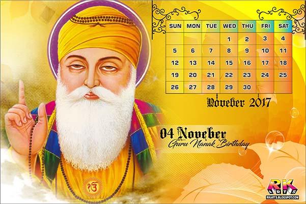 Holiday Calendar November 2017