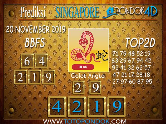 Prediksi Togel SINGAPORE PONDOK4D 20 NOVEMBER 2019