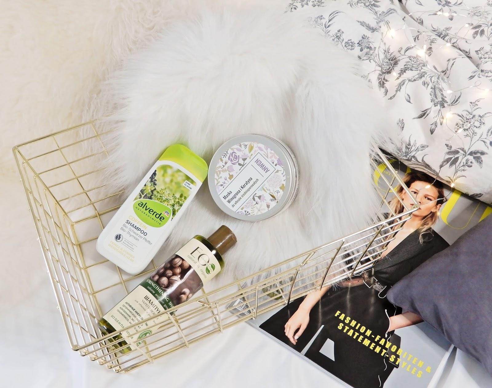 Alverde Coffein Shampoo Bio-Schwarzer Pfeffer Bio-Thymian, Eo (Eco) Laboratorie Szampon wzmacniający, Anwen Maska do włosów Winogrona i Keratyna.