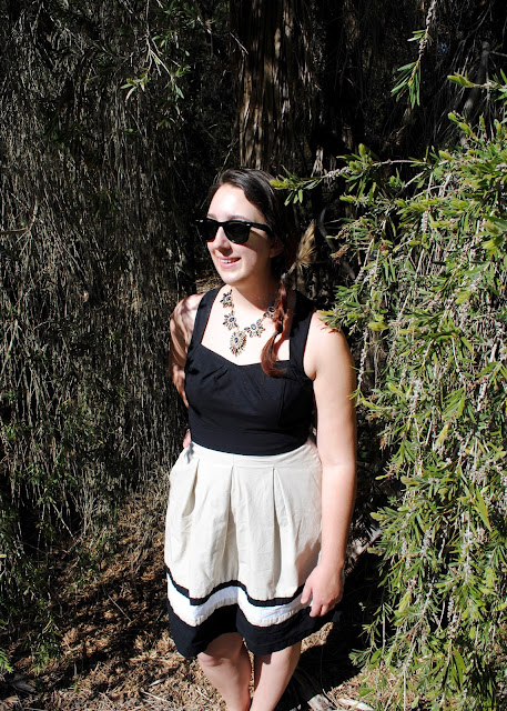 style, Samantha Chic, New York and Co., South Coast Botanic Garden, White House Black Market, J. Crew, Ray-Ban, Target, statement necklace, a-line, dress, fit and flare dress, side braid, bow flats, pointy flats, neutral