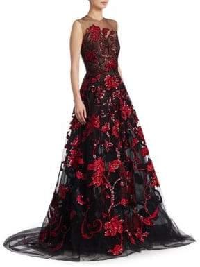 Oscar de la Renta Sleeveless Tulle Sequin Floral Gown