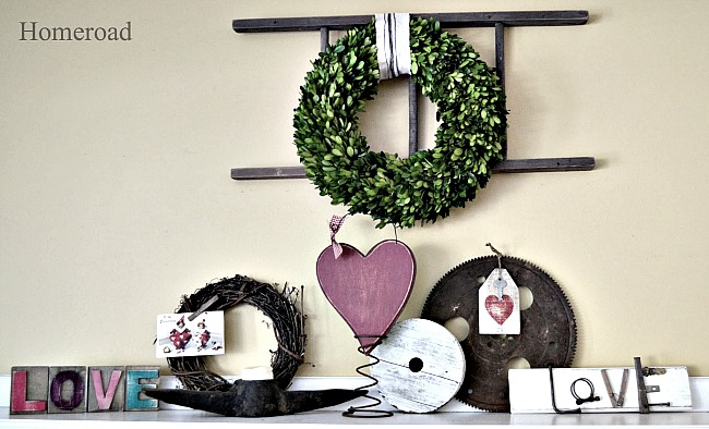 Valentine Mantel and Heart Hang Tags. Homeroad.net