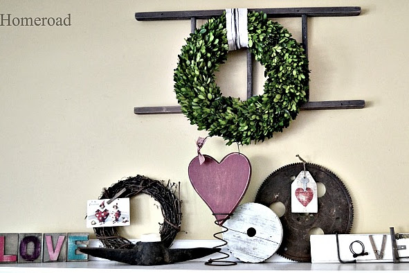 Valentine Mantel and Heart Hang Tags