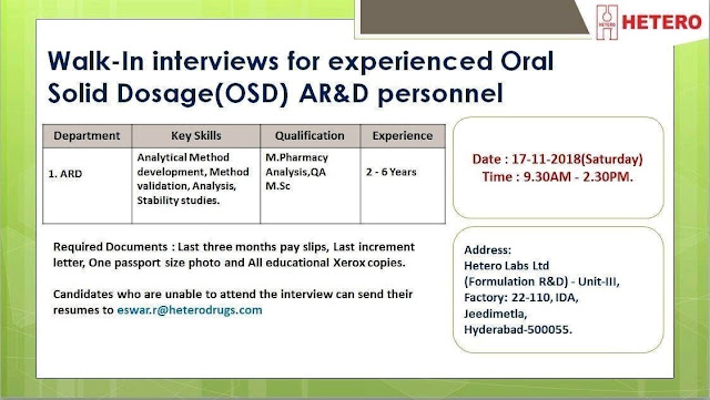 HETERO Walk In Interview For Experienced OSD - AR&D at 17 November