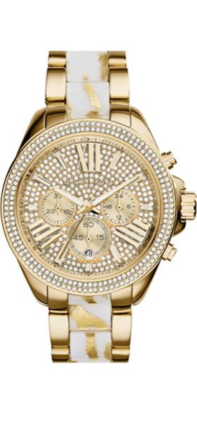 Michael Kors 'Wren' Pavé Dial Chronograph Bracelet Watch gold/white
