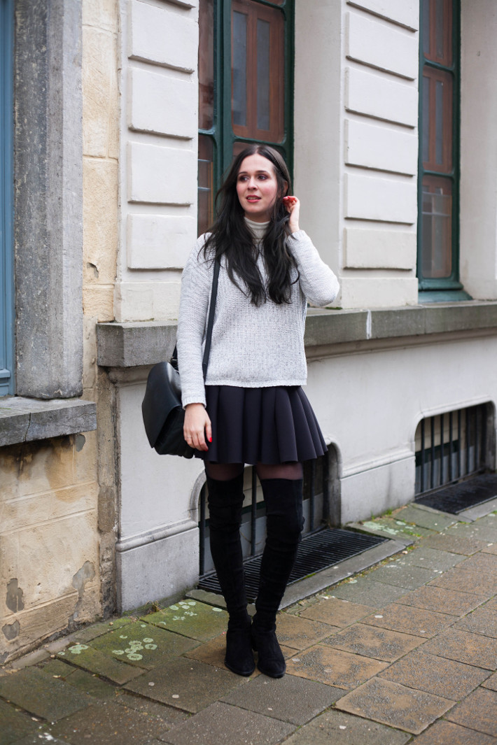 Outfit: preppy with thigh high boots