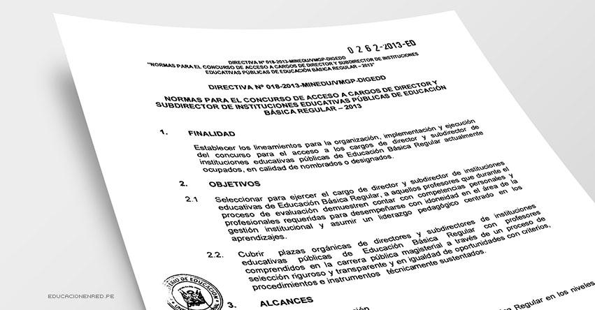 Directiva Nº 018-2013-MINEDU/VMGP-DIGEDD «Normas para el Concurso de Acceso a Cargos de Director y Subdirector de Instituciones Educativas Públicas de Educación Básica Regular - 2013» MINEDU (.PDF) www.minedu.gob.pe