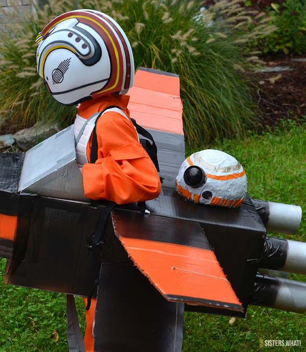 Paper mache diy bb8 on X-wing fighter Star wars costume