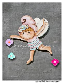 silueta infantil madera hada de las flores babydelicatessen
