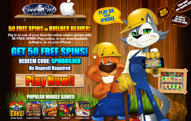 Cool Cat Mobile Casino: get 50 Free Builder Beaver slot spins now