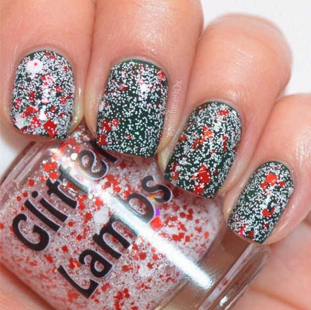 Don't Touch My Candy Cane Milkshake Glitter Lambs Nail Polish Swatched by JessFace90x