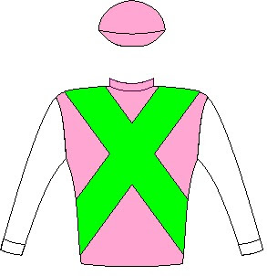 Made To Conquer - Silks - Horse Racing - Cyclamen, spectrum green crossed sashes, white sleeves, cyclamen cap