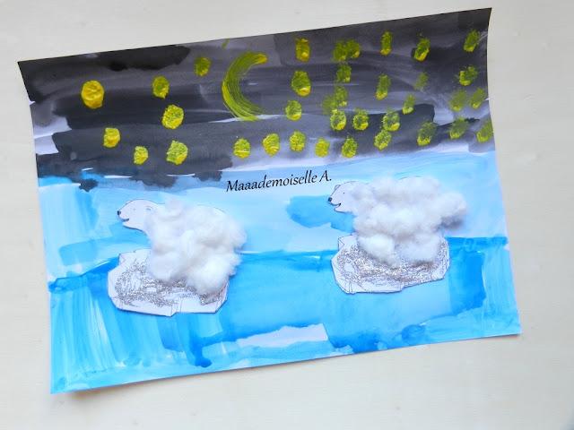 || Activité : Ours polaires (en coton) sur leur bloc de glace (en paillettes !) (L'art est un jeu d'enfant # 7)
