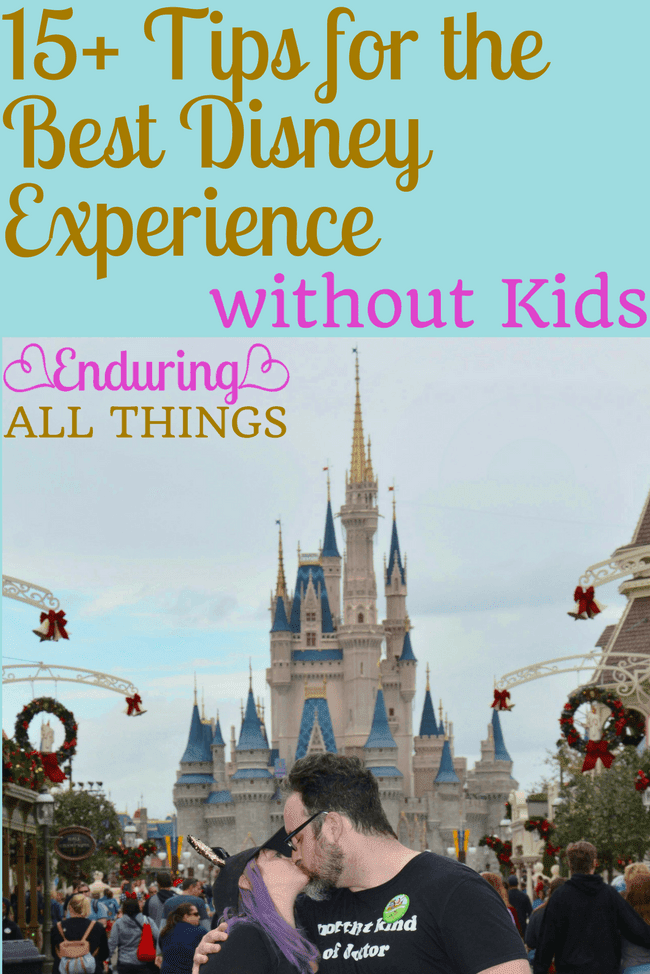 A trip to Walt Disney World or Disneyland is always worth it! Even if, or especially if, you don't have kids! Here are more than 15 of my greatest tips for an adults only Disney trip. The Disney Parks are a great place to celebrate an anniversary or honeymoon or graduation or anything as a couple with nobody else to worry about. Here I talk about tips like when to book, when to do certain activities in the park, what to pack, and what to splurge on! So use this grown-up guide to Disney World to start planning that adults only trip right now!