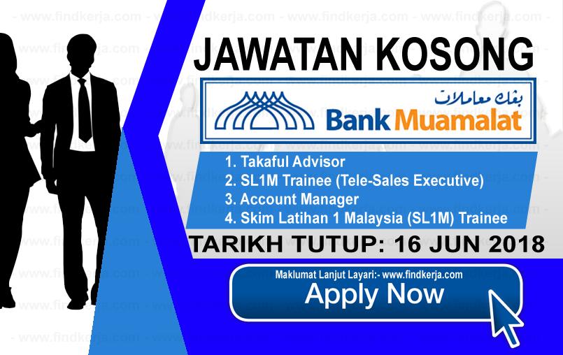 Jawatan Kerja Kosong Bank Muamalat logo www.findkerja.com jun 2018