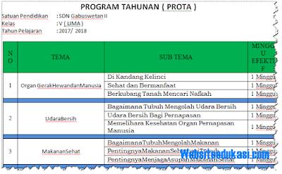 Prota, Promes Kelas 5 SD/MI Semester 2 & 1 K13 Revisi 2018