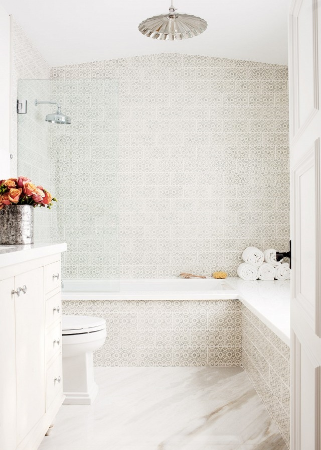 gray and white cement tile bathroom