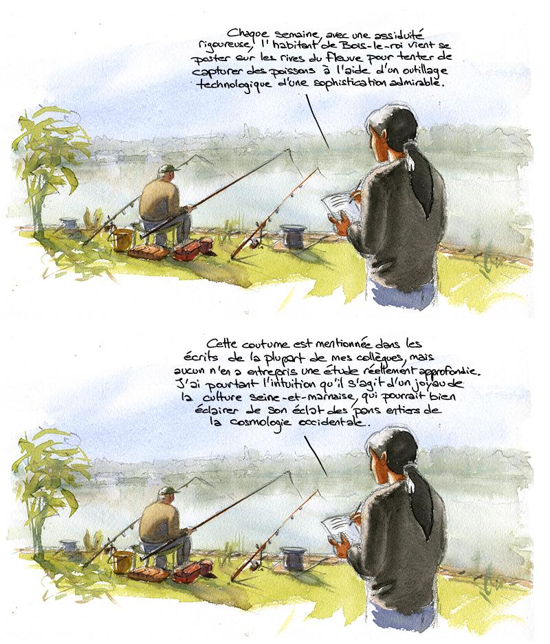 anthropologue jivaro à bois-le-roi, pêche à la ligne