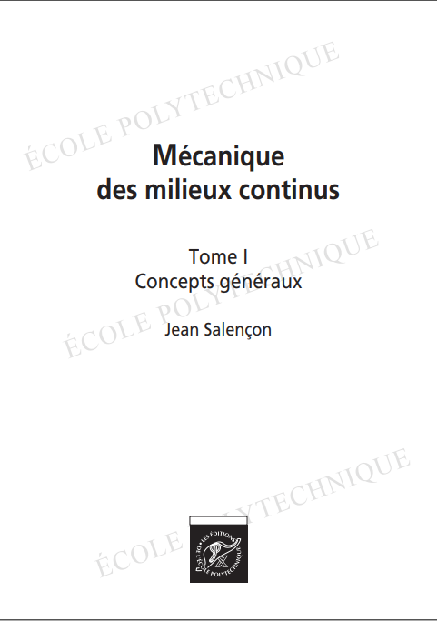 Cours Mécanique des milieux continus (livre) ~ GENIE CIVIL