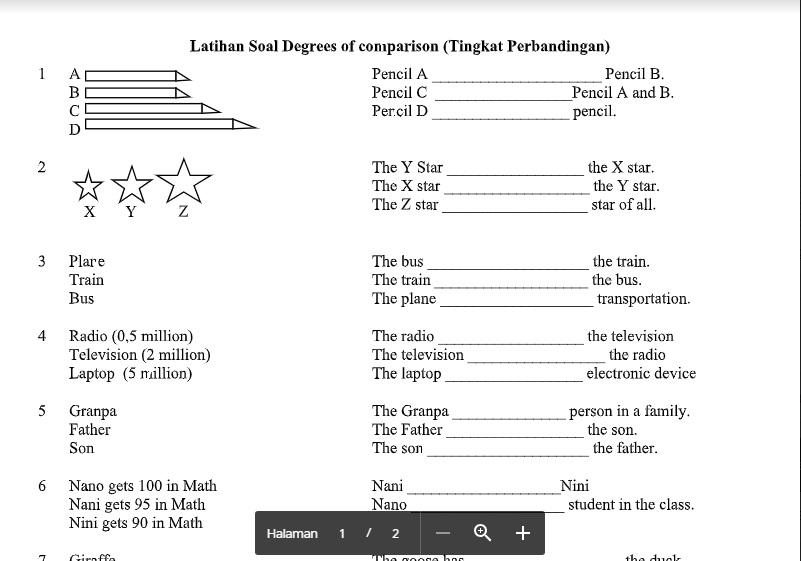 Soal Lengkap Degrees Of Comparison Smp Kelas 8 Bahasa Inggris Smp Mts