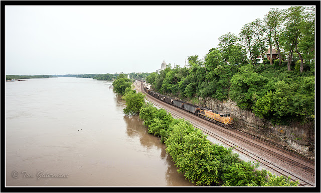 UP 6502 Leads An Empty Coal Train Along The River Bluffs In Jefferson City, MO.