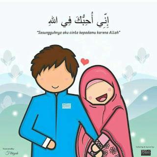 kartun gambar pasangan muslim dan muslimah romantis
