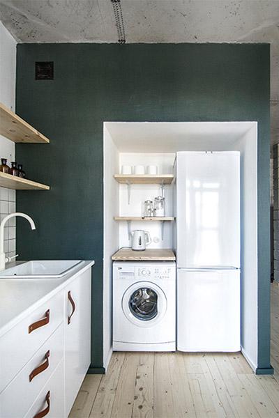 cuisine coin lave vaisselle et frigidaire idee decoration