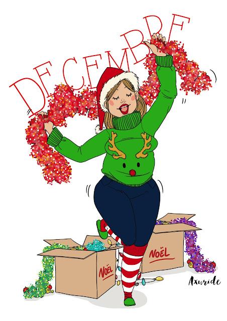 illustration sur le mois de décembre, une femme qui dance avec des guirlandes, elle prépare noël dans la joie et la bon humeur. habillée d'un pull de Noël renne, et des chaussette rouge et blanche.