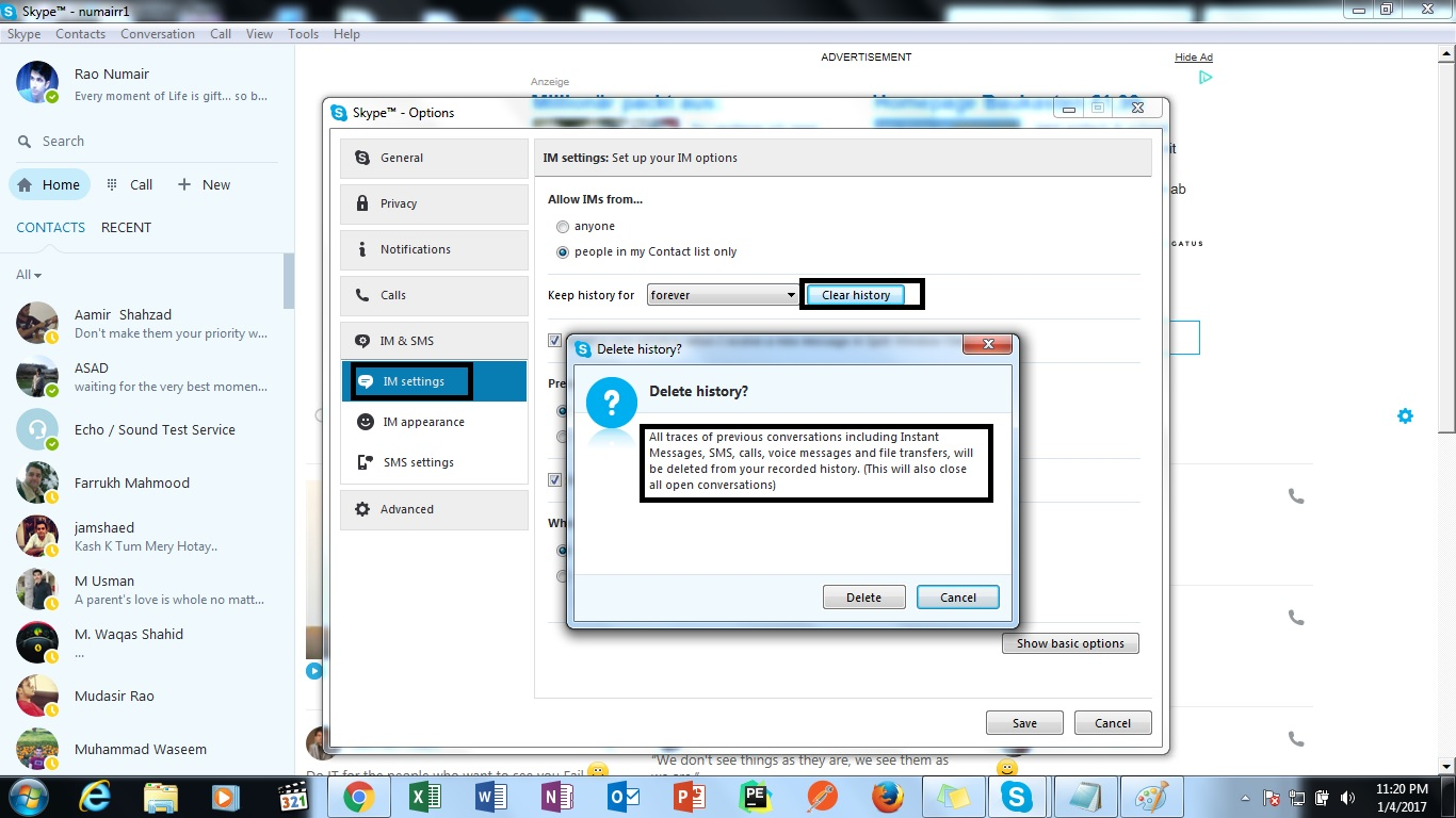 How to delete chat in Skype 65