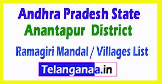 Ramagiri Mandal Villages Codes Anantapur District Andhra Pradesh State India