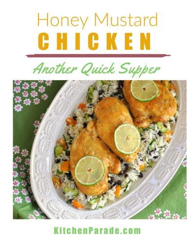 Honey Mustard Chicken ♥ KitchenParade.com, fast & simple, five ingredients. Weight Watchers Friendly!