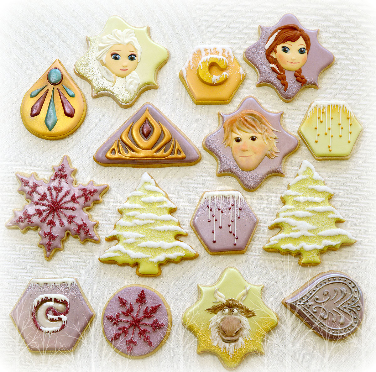 Full set of characters from Disney's Frozen on decorated cookies, photo by Honeycat Cookies