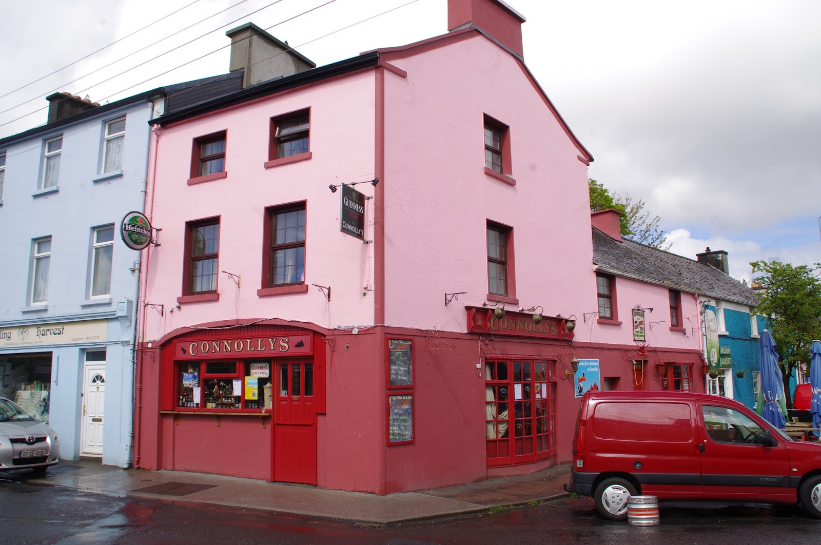 Pink and red pub in Kinvarra Ireland