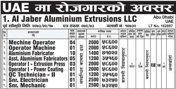 Free Visa, Free Ticket, Jobs For Nepali In U.A.E. Salary -Rs.73,000/