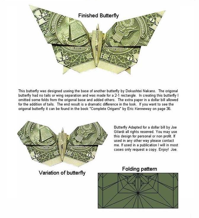 Money Origami Butterfly : 14 Steps (with Pictures) - Instructables | 737x672
