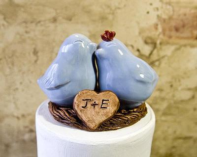 topo de bolo personalizado, topo de bolo de passarinhos, bolo de casamento