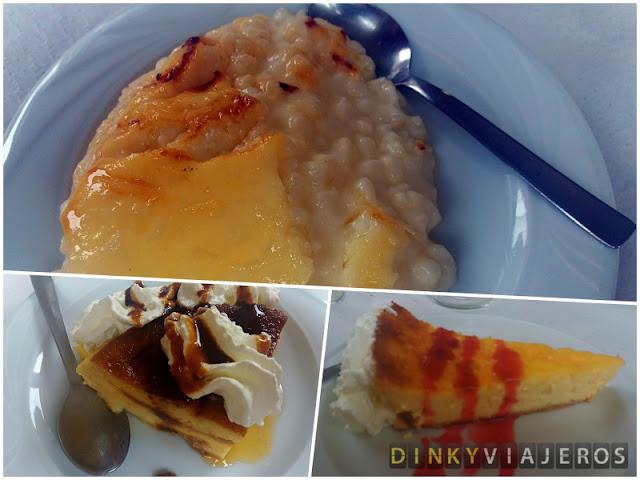 Arroz con leche, flan de huevo y tarta de queso