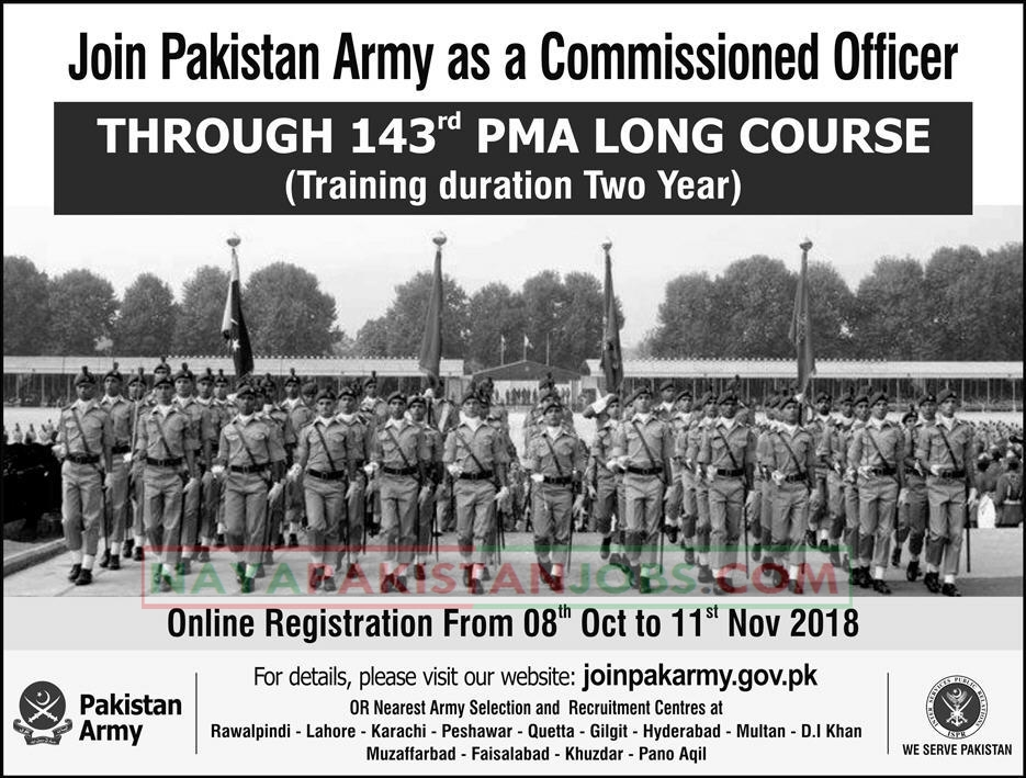 Join Pak Army, Commissioned Officer pak army, pak army commissioned officers jobs , join pak army as commission 143rd PMA