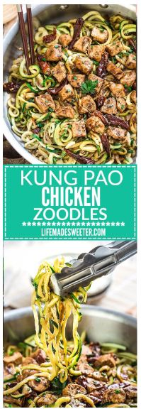 One Pan Kung Pao Chicken Zoodles {Zucchini Noodles}