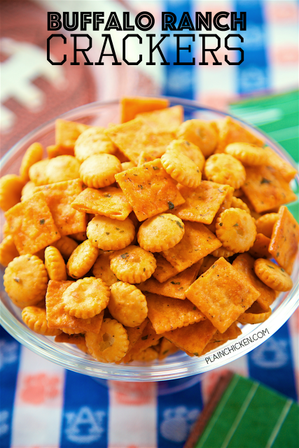 Buffalo Ranch Crackers - SO good! Great for parties or on top of soups and chili. Oyster crackers, Cheez-its, ranch mix, oil and buffalo sauce. Makes a ton. We always have a bag in the pantry. YUM!
