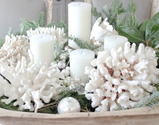Coastal Christmas candle idea with white coral