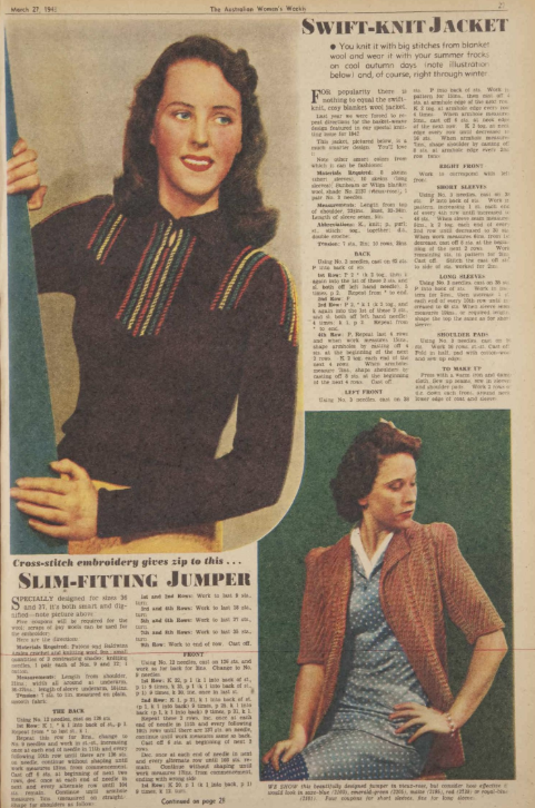 caac2ce79 The Vintage Pattern Files  Free 1940s Knitting Pattern - Womens Weekly  Knitwear for 1943