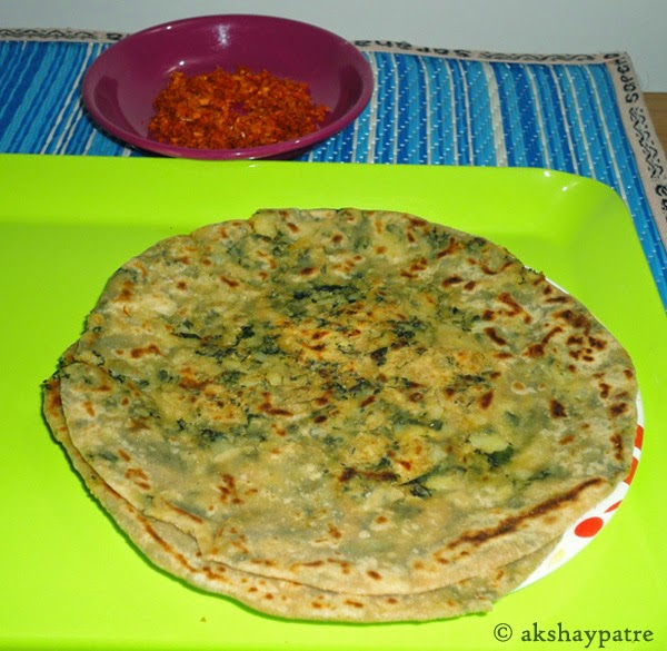 Shallow fried the aloo methi paratha