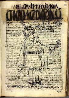 Cápac Yupanqui, quinto inca, dibujo de Felipe Guamán Poma de Ayala