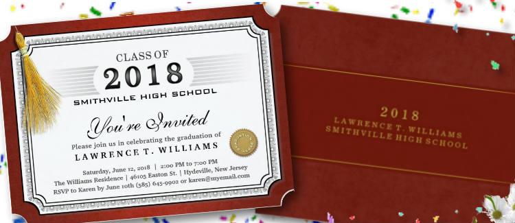 red graduation party diploma invite