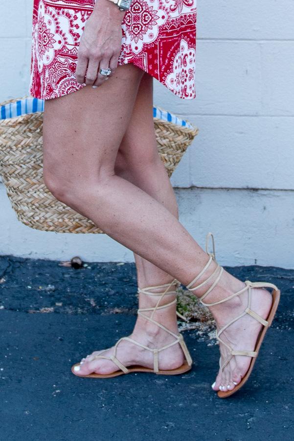 tan lace up sandals